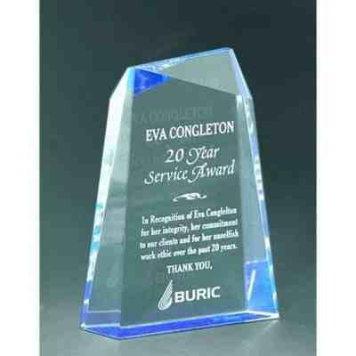 blue wedge faceted acrylic award
