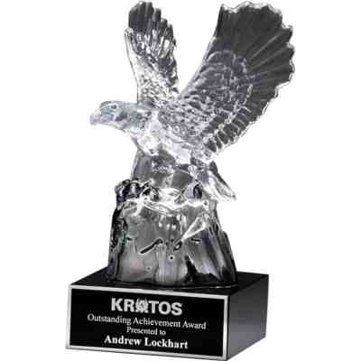 Carved Crystal Eagle on Black Base K9117