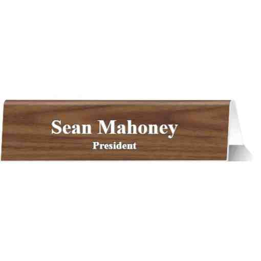 Table Top Tent Sign Walnut-White