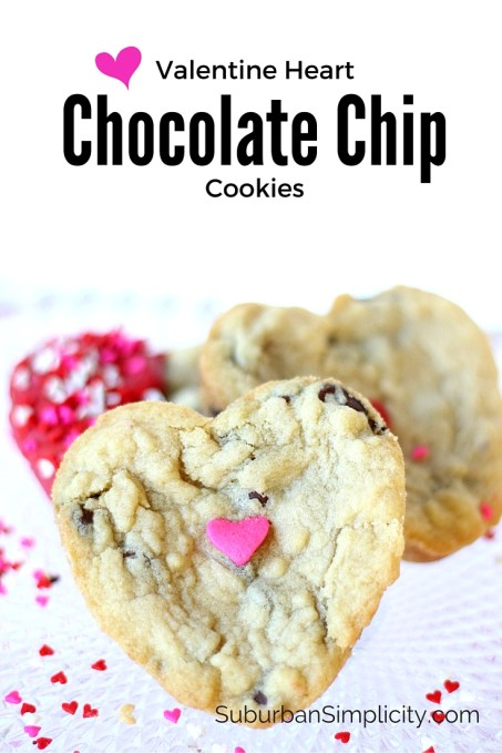 Chocolate Chip Valentine's Day Cookies - the perfect homemade gift for your sweetheart. Soft, chewy and delicious! A cookie recipe worth pinning!