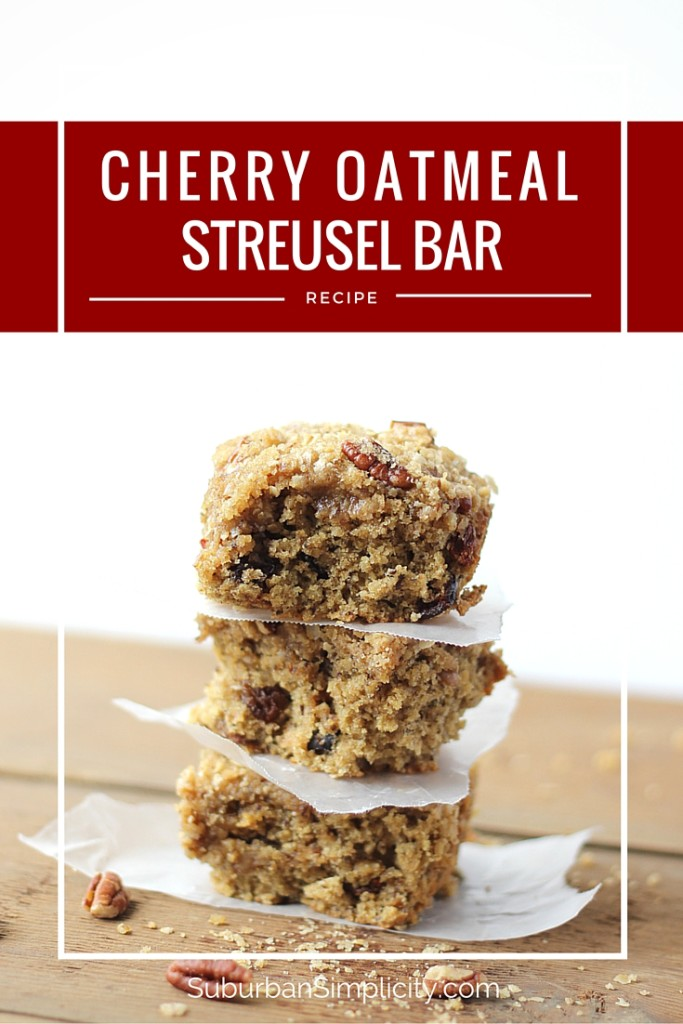 Cherry Oatmeal Streusel Bars are a healthy snack or treat for your family! Enjoy this easy recipe for breakfast or anytime of the day!