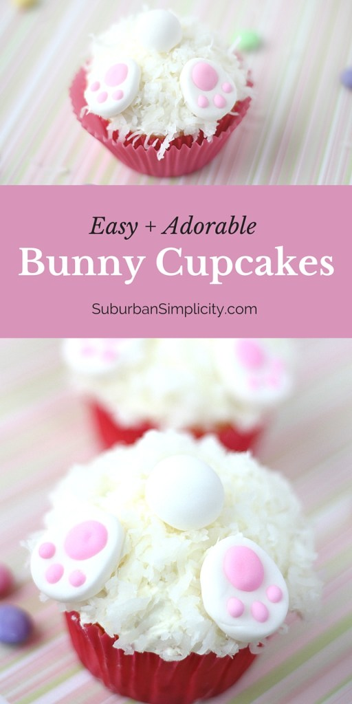 These Bunny Cupcakes are an easy way to decorate for Easter! Such a simple and cute cupcake idea even the kids could do! | Bunny Butt Cupcakes