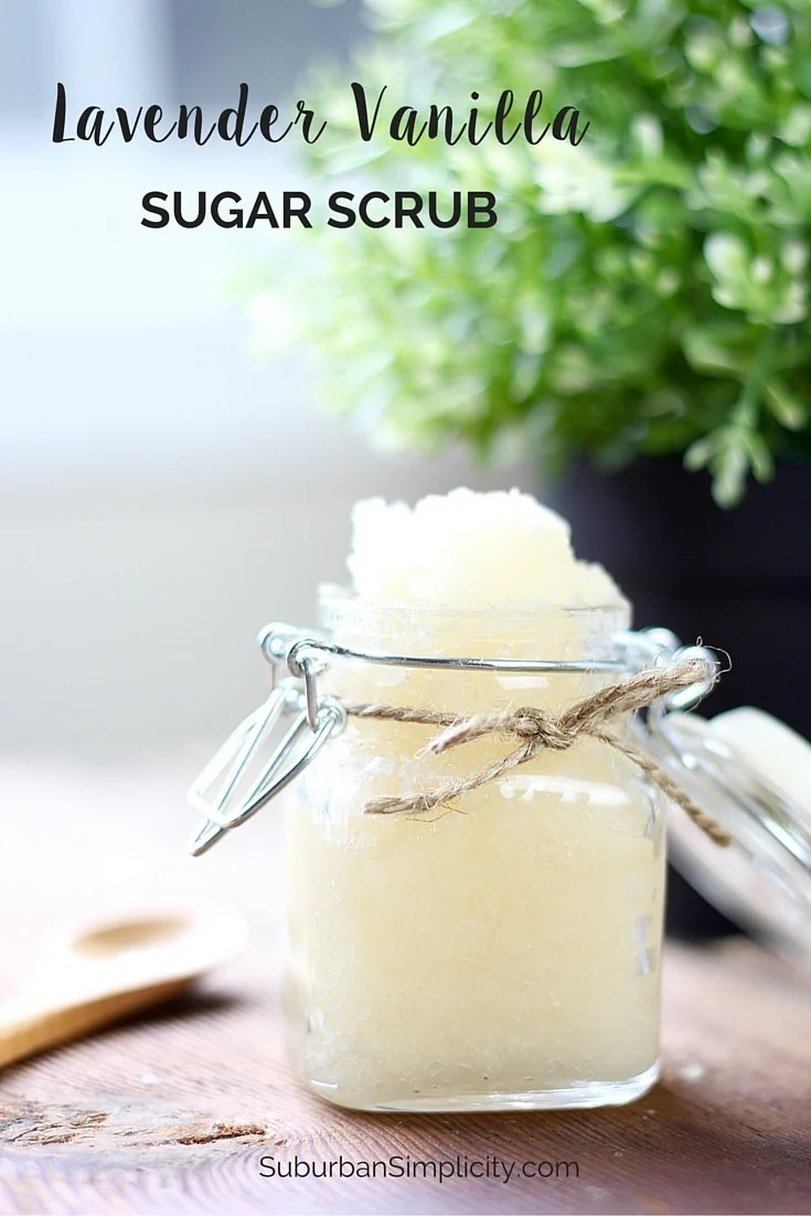 This Lavender Vanilla Sugar Scrub recipe is an easy DIY to pamper yourself or give as a lovely gift.  A homemade sugar scrub that's all natural and smells wonderful! #sugarscrub #bodyscrub