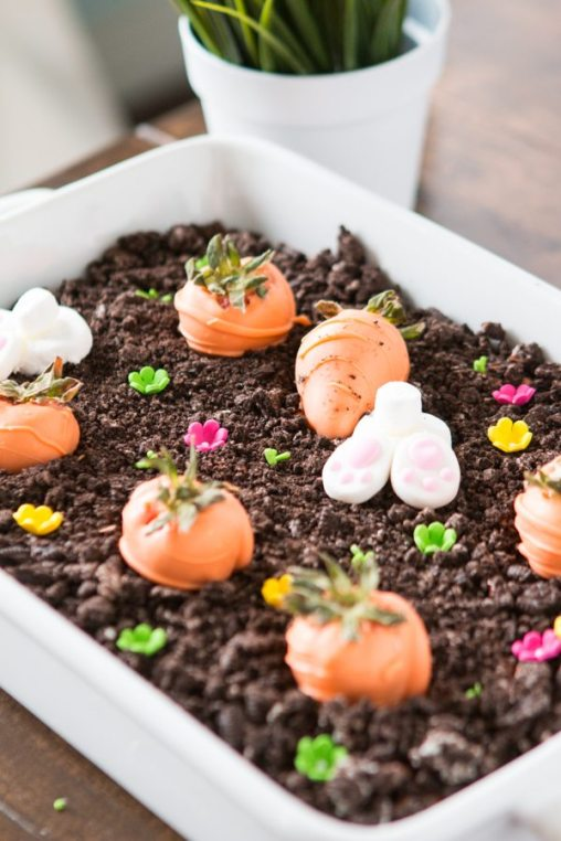 Simple Easter Treats bunny-carrot-garden-with-strawberries-and-chocolate-cream-ohsweetbasilk
