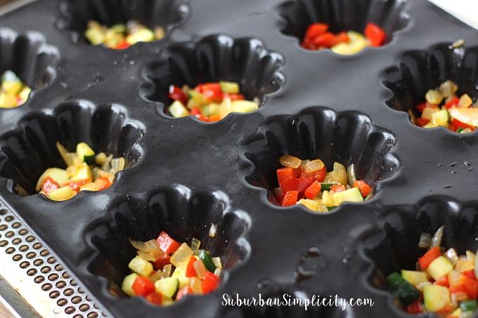 Mini Quinoa Frittata veggies in baking dish