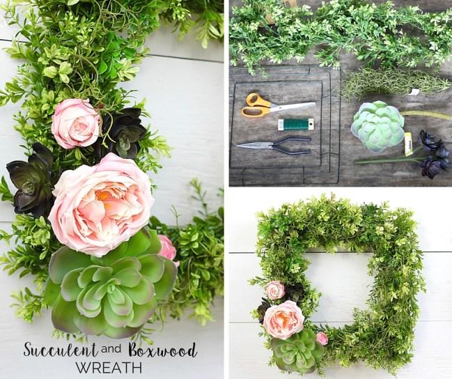 Succulent and Boxwood Wreath - FB
