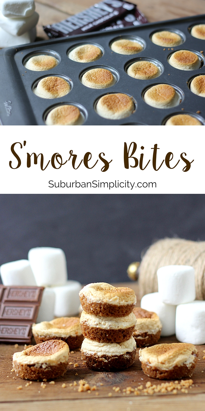 Looking for a yummy dessert recipe everyone loves?  Try these tasty little S'mores Bites! They're easy to make in your oven, no campfire required! If you love S'mores, you'll love these! #dessertrecipe #smores