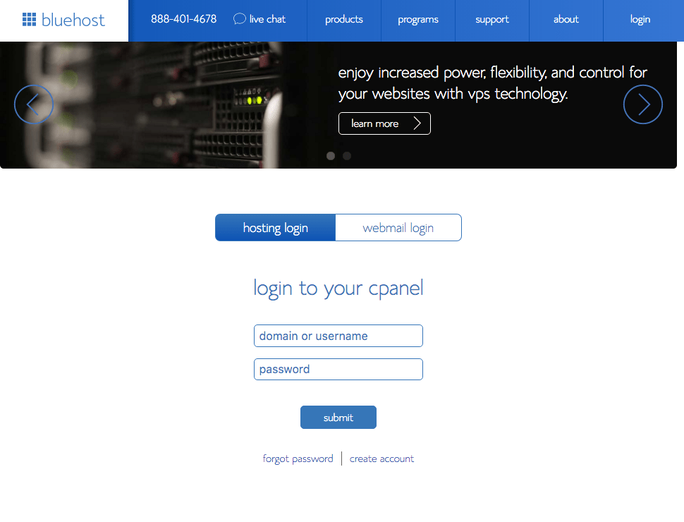 Bluehost:cPanel Login