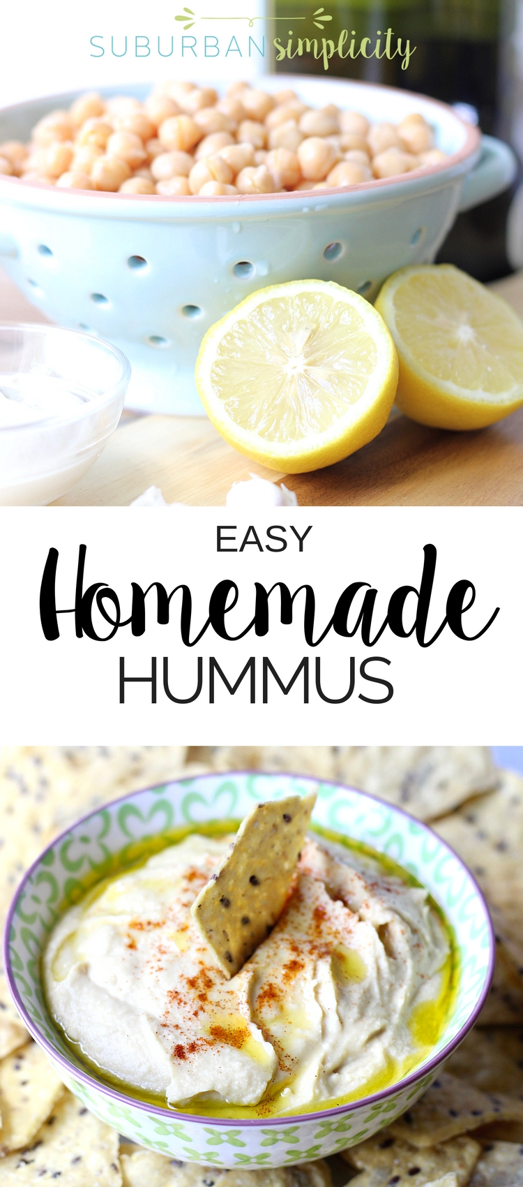 This 5-minute Homemade Hummus Recipe is even better than store bought! It's fresh, creamy and a healthy, gluten free snack idea that's good anytime! Try it and see how easy it is!  Video tutorial. #easyrecipe #hummus
