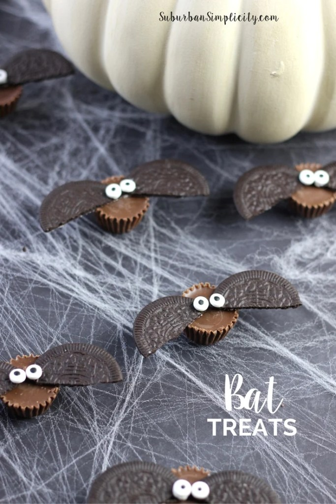 Cute Bat Treats with a pumpkin in the background.