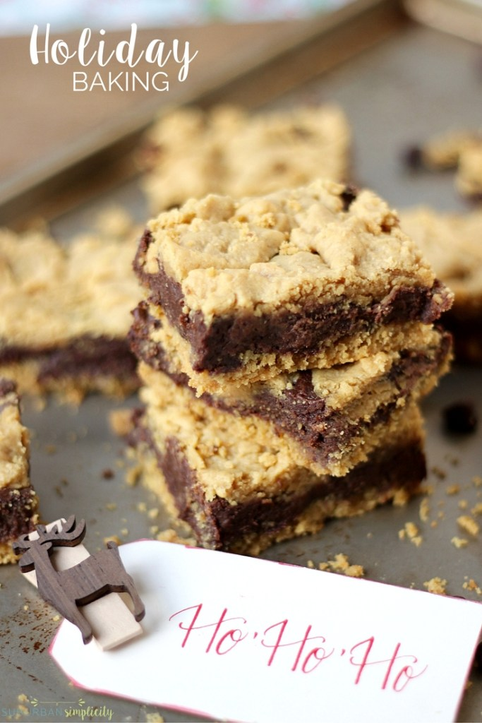 Peanut Butter Chocolate Bars make the perfect dessert! These cake mix bars come together easily with Dove Chocolate and peanut butter to make holiday baking dreamy and delicious!