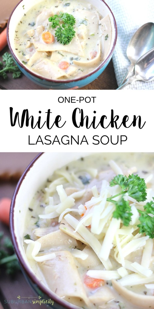 Grab a spoon and dig into this insanely good White Chicken Lasagna Soup. This satisfying one pot comfort food recipe is simple, flavorful and delicious! Perfect for family dinners!
