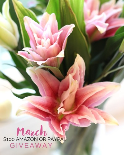 Happy Spring! It's time for a March $100 Amazon Gift Card or PayPal Giveaway! Yippee! Enter now for your chance to win an Amazon Gift Card or PayPal cash!