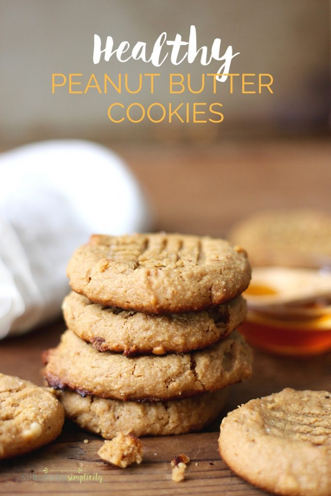 Healthy Peanut Butter cookies with no process sugar or wheat. Yum!