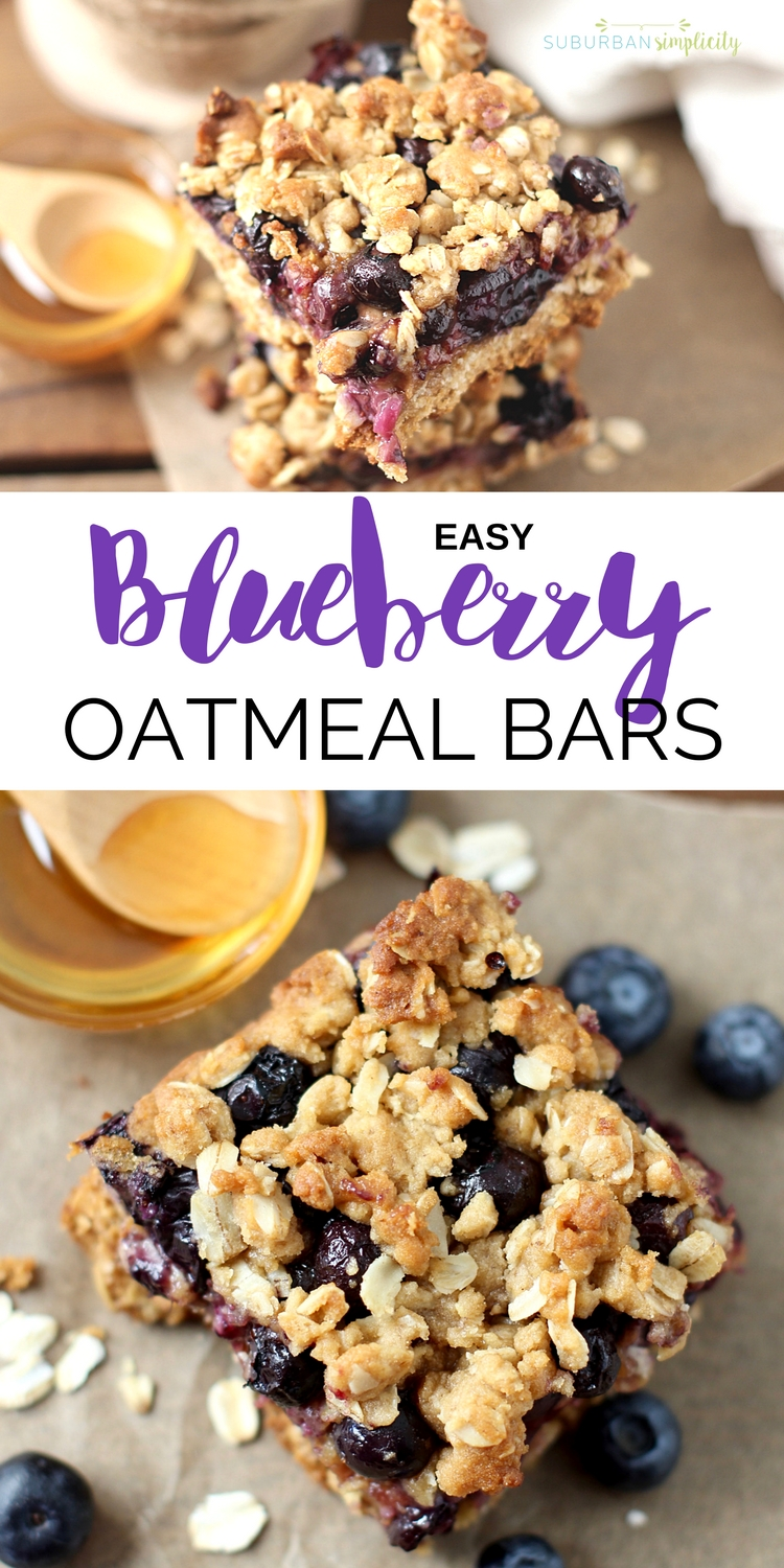 Blueberry Oatmeal Bars are a nutritious and delicious recipe idea the whole family will gobble up. One bowl and one pan are all you need for these easy oatmeal bars bursting with fresh blueberries!