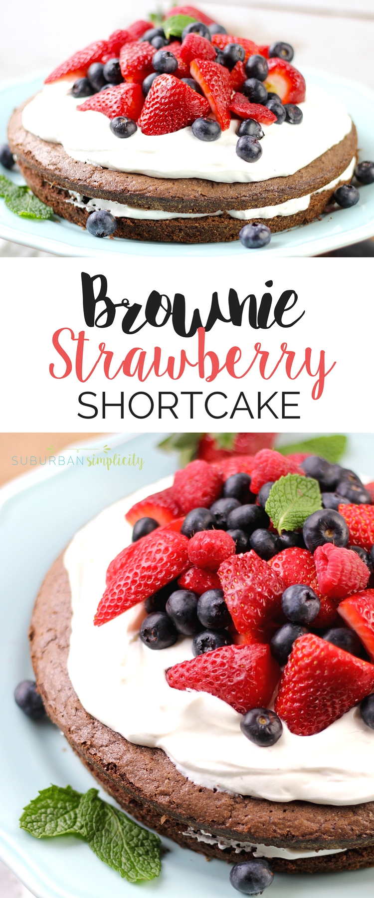 Looking for a yummy brownie recipe? Layers of fudgy chocolate brownie with a creamy center, topped with berries make this Brownie Strawberry Shortcake a winning dessert combination! #brownies #shortcake #summer