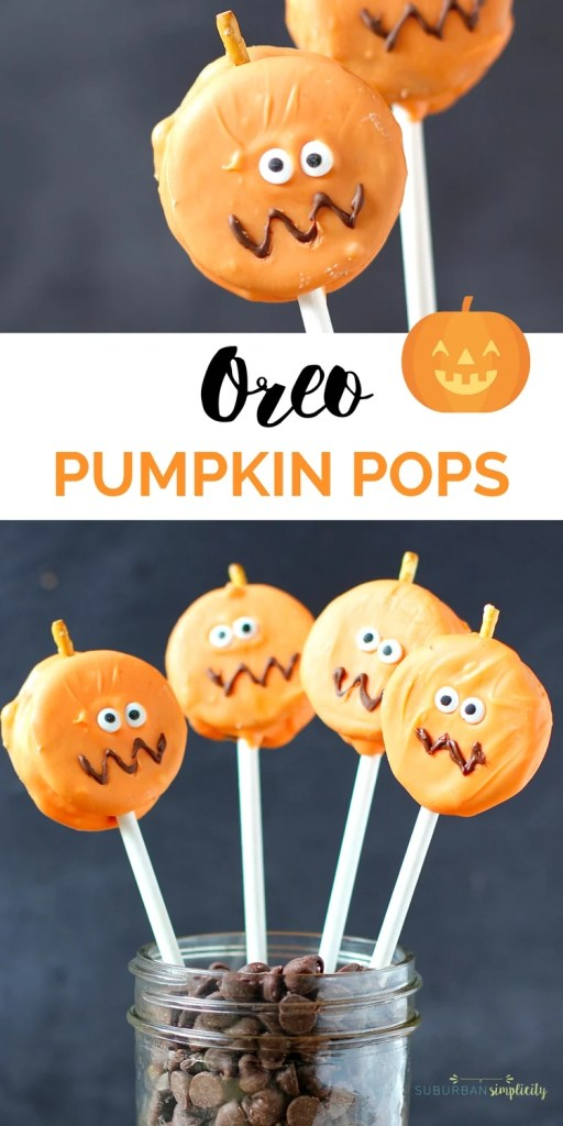 Looking for a cute Halloween treat idea for your Halloween party?  Try these super easy Oreo Pumpkin Pops! They'll be the gobbled up before you know it! |Halloween Dessert Recipe