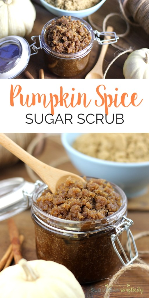 This easy Pumpkin Spice Sugar Scrub is a must make DIY! Not only does it smell amazing, it smooths and exfoliates your skin for pennies. | DIY Body Scrub | Homemade Gift Idea