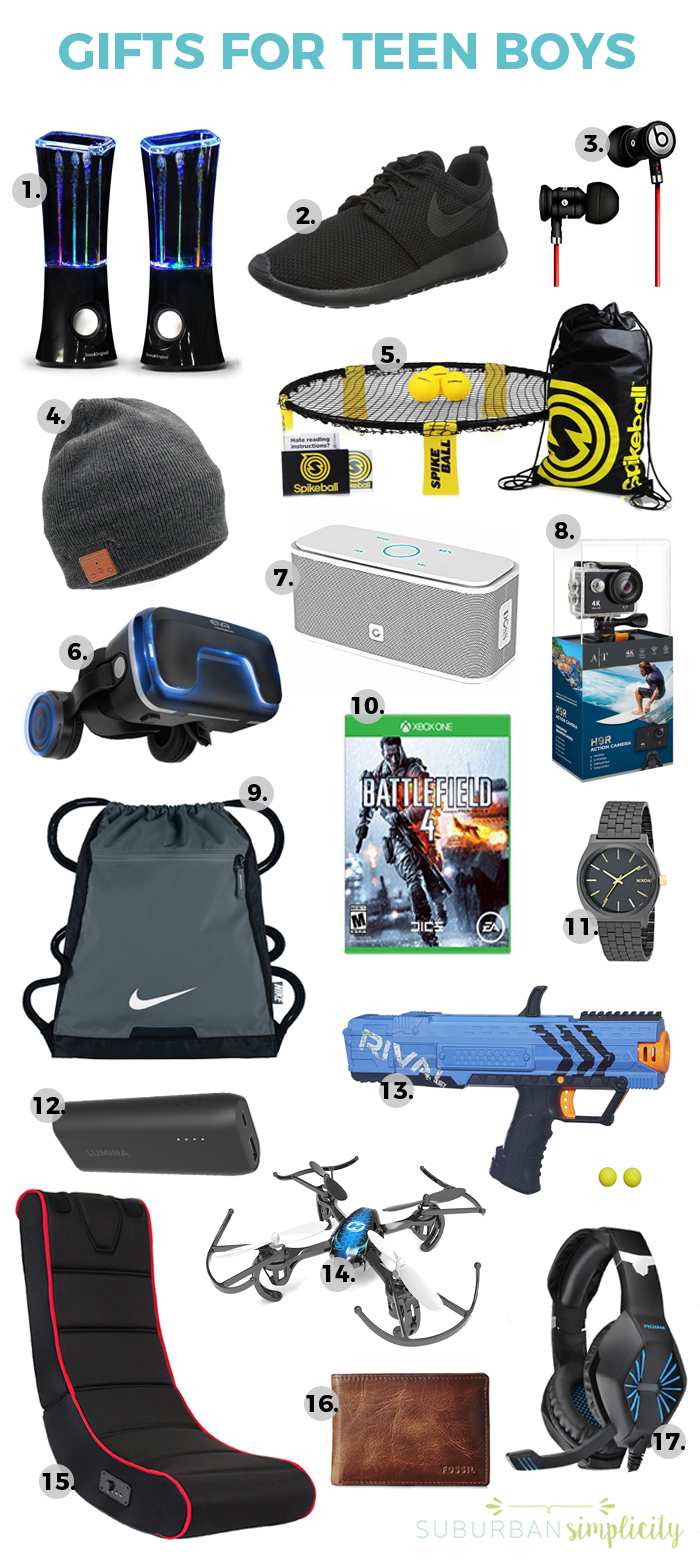 Looking for cool gift ideas for teen boys? This gift guide has you covered. Teens can be hard to buy for but not with these clever ideas! #giftsforteens