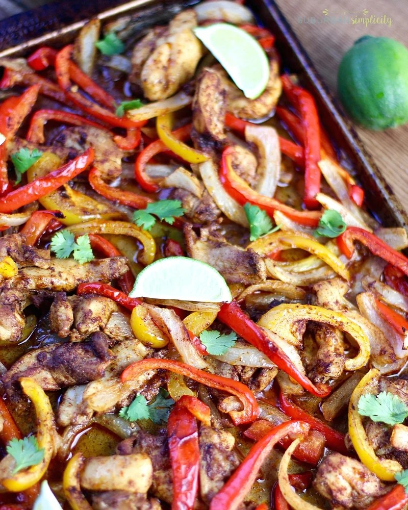 Baked Sheet Pan Chicken Fajitas on a baking pan right out of the oven.