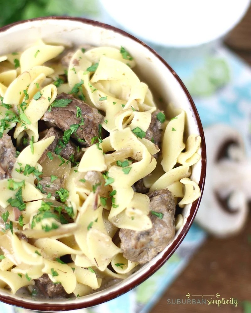 Savory beef stroganoff in a bowl.