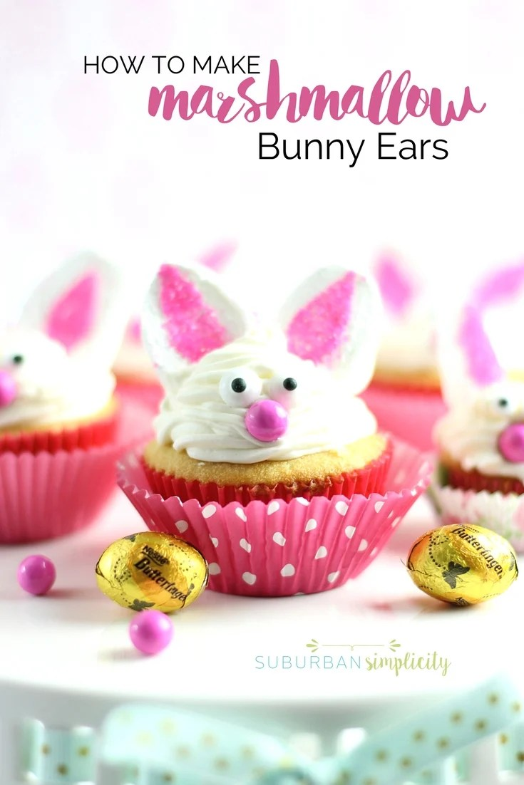Bunny cupcakes with marshmallow bunny ears.