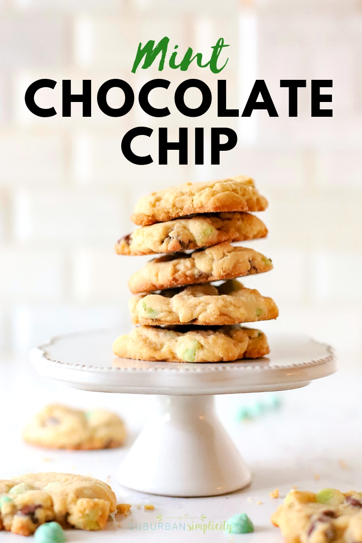Mint Chocolate Chip Cookies in a stack on a cake stand.