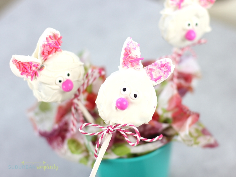 Adorable Bunny Oreo Cookie Pops on a stick.