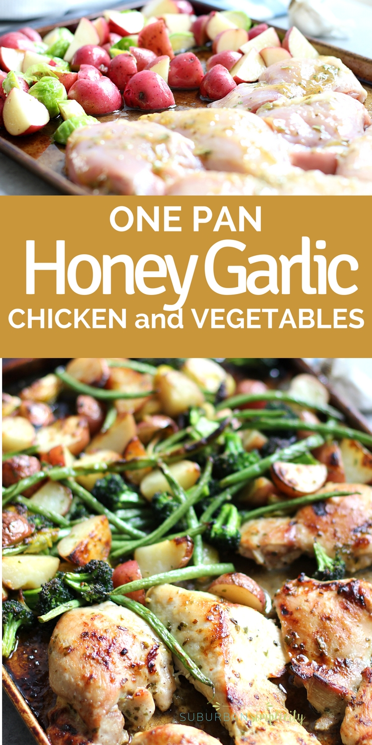 One Pan Honey Garlic Chicken and Vegetables is such and easy and delicious dinner idea!  It's so flavorful and cleanup is a dream! Make this one-pan recipe on busy weeknights! #chickenrecipe #easyrecipe #dinnerideas