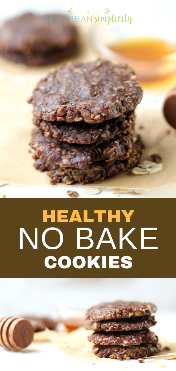 Try these Healthy No Bake Cookies for a wholesome anytime treat! This No Bake Cookie Recipe has no refined sugar, but plenty of fiber and protein and can be whipped up in minutes! #nobake #nobakecookies #healthycookies #healthyrecipe