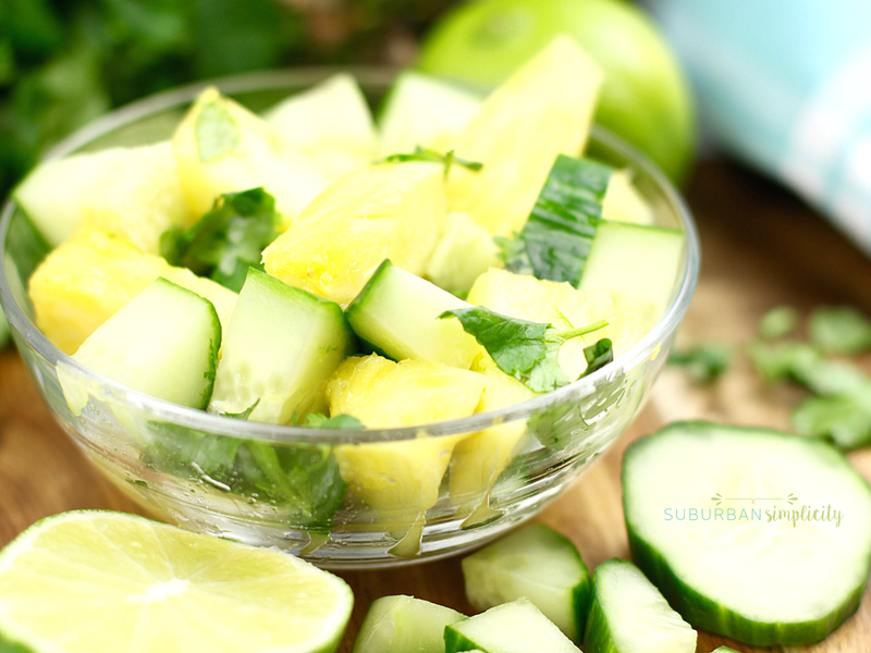 Fresh Pineapple Cucumber salad in a bowl.