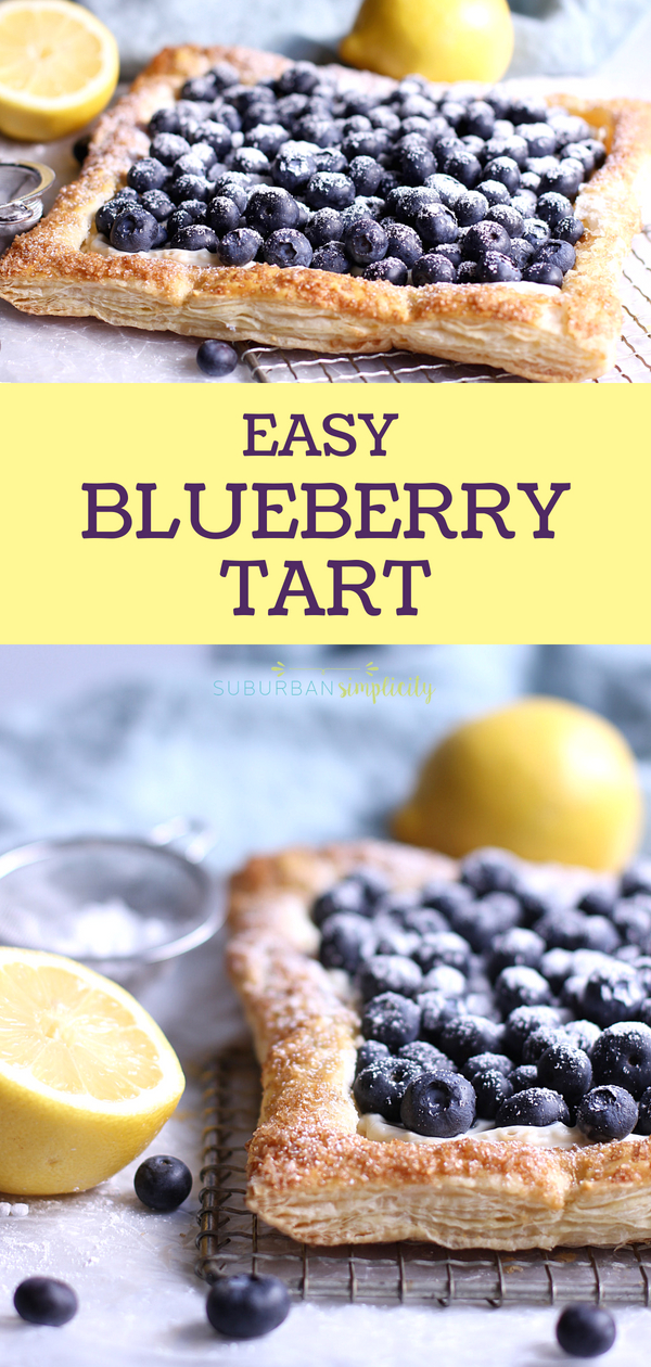 This easy Blueberry Tart recipe with Puff Pastry is so simple to make and so pretty to serve. The perfect blueberry recipe to serve for dessert. Golden, flakey crust filled with creamy cheesecake filling, topped with fresh blueberries. #dessert #blueberry #baking #summerdessert #tart #easyrecipes