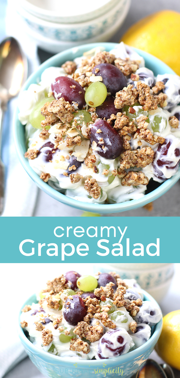 This Easy Grape Salad is a must make!  So simple, yet the perfect idea for picnics, BBQs and cookouts!  Juicy grapes smothered in cheesecake and topped with crunchy granola! #summer #grapes #dessert #cheesecake