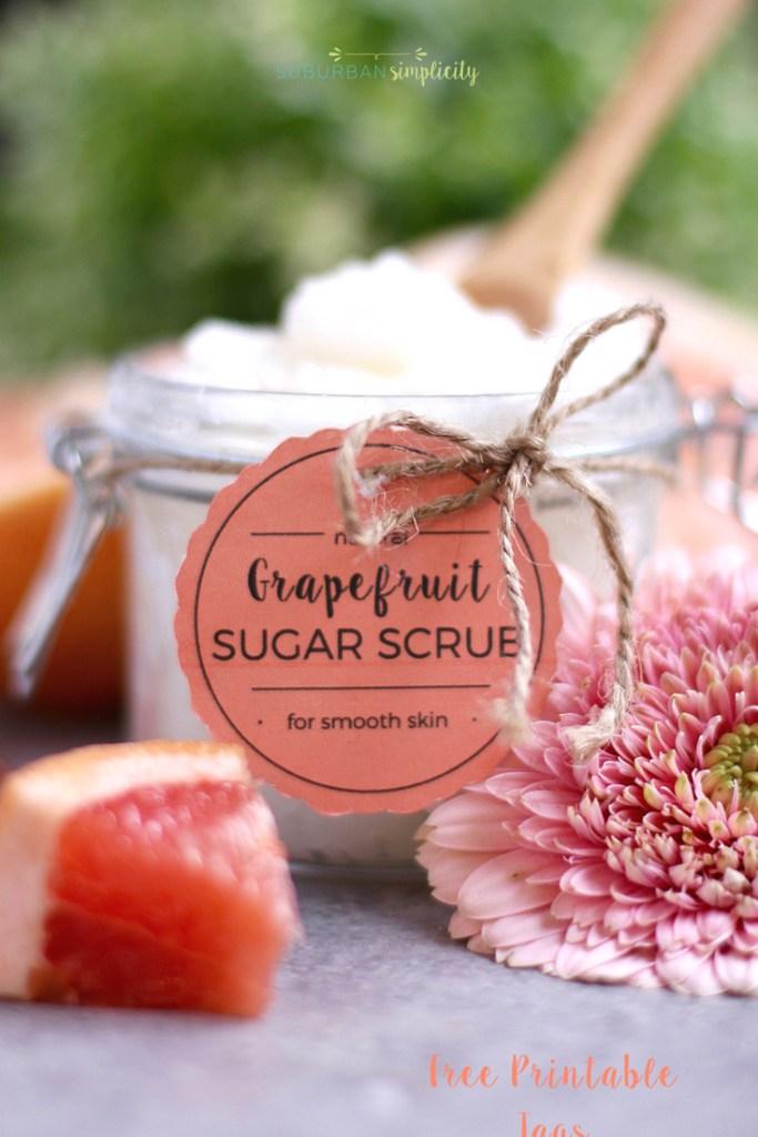 Grapefruit sugar scrub in a jar with a custom gift tag