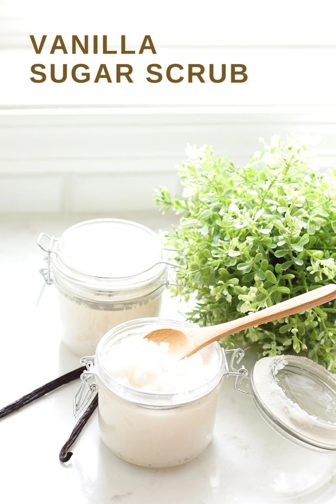 This yummy Vanilla Sugar Scrub is an easy, exfoliating DIY that you can make at home for pennies.  A simple and all-natural beauty product that smells delicious!