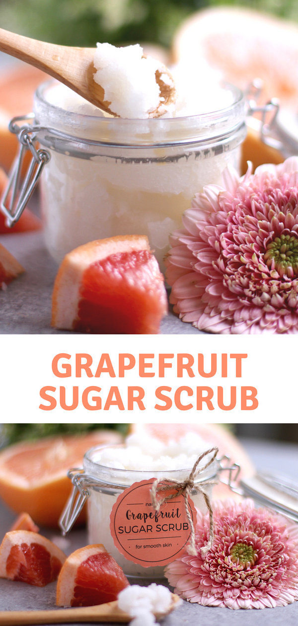 This Grapefruit Sugar Scrub Recipe idea takes 5-minutes to make and is so fresh and exfoliating! The perfect DIY Beauty product to make at home! Make great gifts too! #bodyscrub #sugarscrub #DIY #naturalbeauty #homemade