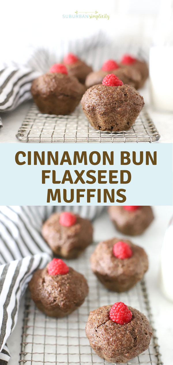 Cinnamon Bun Flaxseed Muffins are a nutritional powerhouse! This healthy baking idea is gluten free and low in sugar and good for breakfast or snack time!