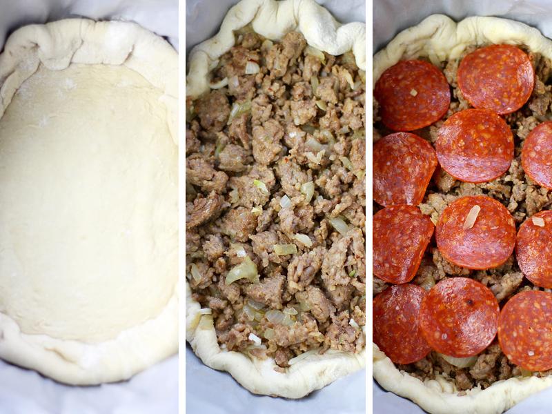 Steps for making crockpot pizza.
