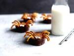 Halloween Brownie Spider with milk in the background.