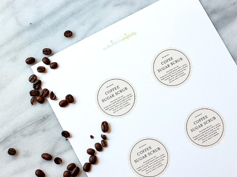 Printable tags for coffee sugar scrub.