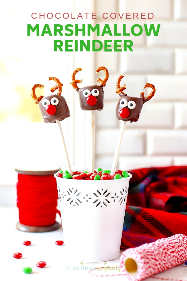 These Chocolate Covered Marshmallow Reindeer are the cutest Christmas treat! Easy to make and a merry addition to any party or playdate! #suburbansimplicity #Christmastreats #Reindeer