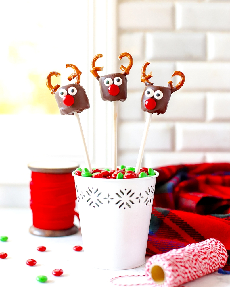 Three Marshmallow Reindeer in a vase