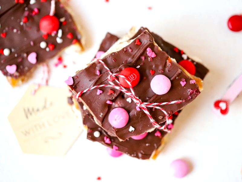 Valentine's Day Saltine Toffee with M&Ms on top.