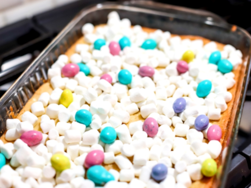 Spring confetti cookie bars with marshmallows on top.