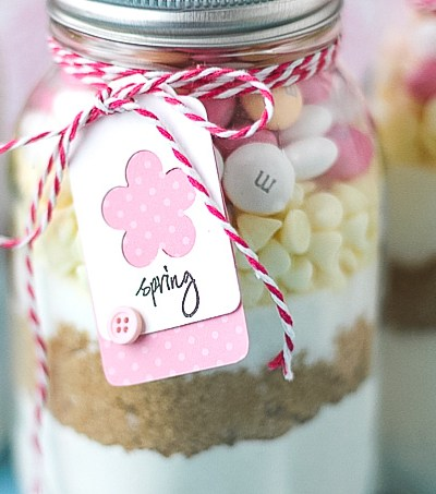 Easter cookies in a jar with tags