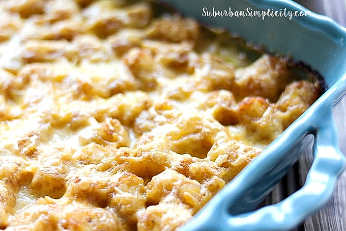 Cheeses baked tater tot casserole.