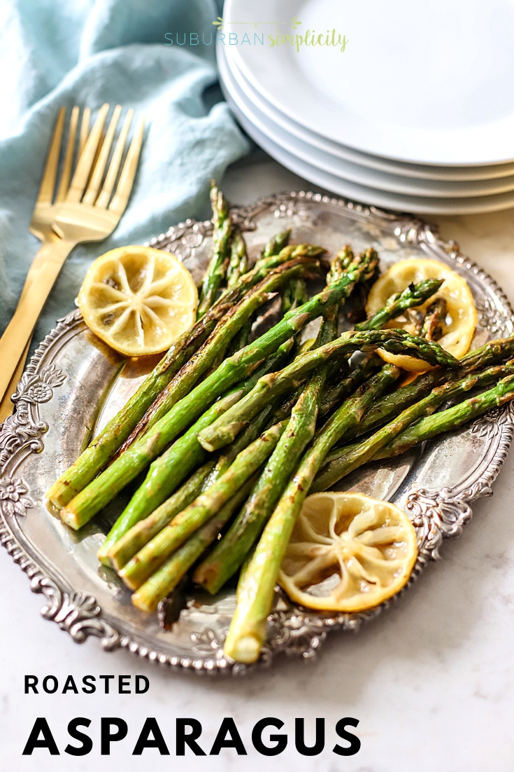 This Roasted Asparagus with Lemon is a simple and easy side dish that's ready in minutes. Fresh asparagus is roasted to perfection and seasoned with lemon juice.