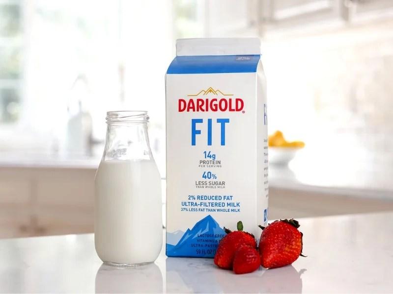 Darigold FIT Milk on the kitchen counter.