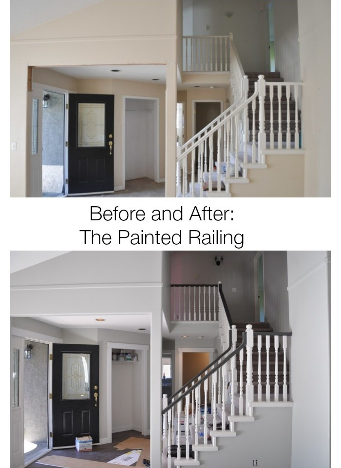 A Progress Post Our White Railings With A Dark Handrail Suburble   Grey And White Banister   Furniture   Light Wood Banister   Runner Designsponge   Green White   Indoor