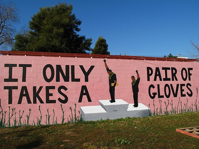 Mural about the black power salute 'It only takes a pair of gloves'